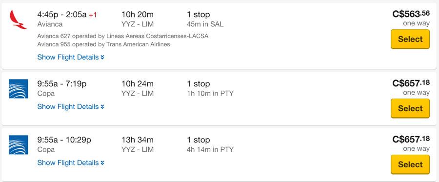 トロントからリマまでの航空券価格 Expedia.caの場合