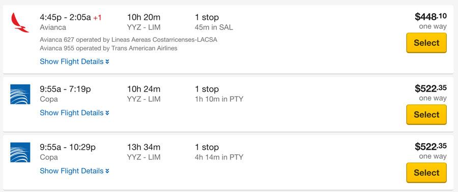 トロントからリマまでの航空券価格 Expedia.comの場合
