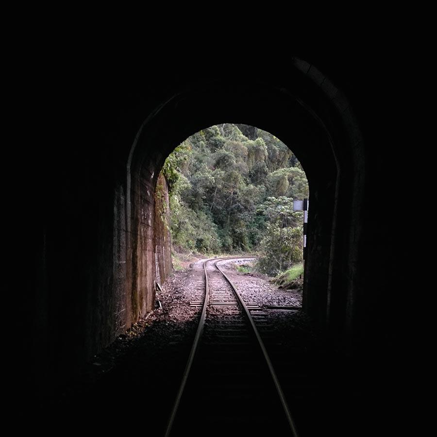トンネルの中から撮影。