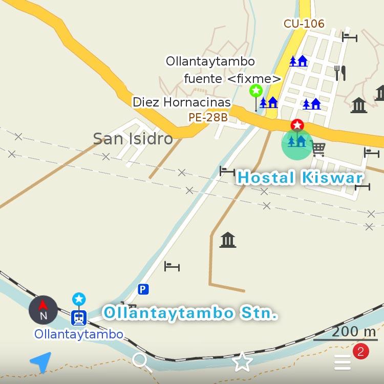 オリャンタイタンボの地図