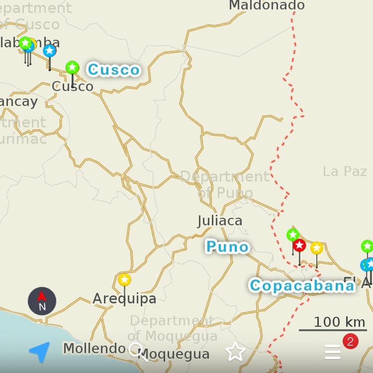 クスコとコパカバーナの位置関係