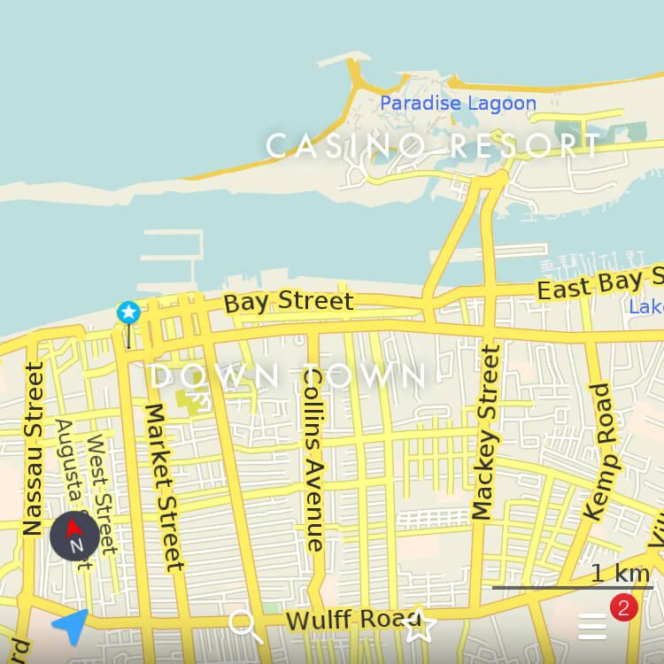 バハマ、ナッソーの地図。