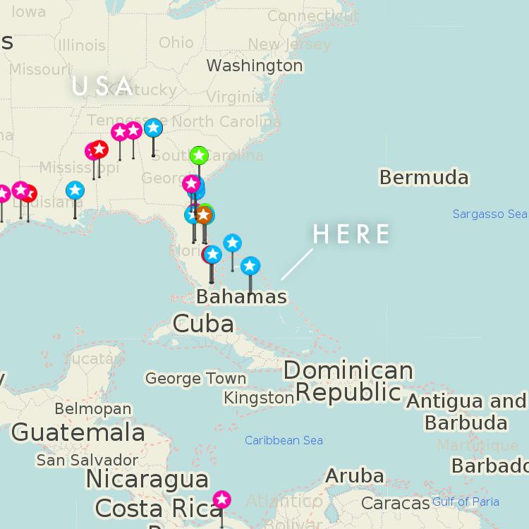 バハマと周辺国の地図