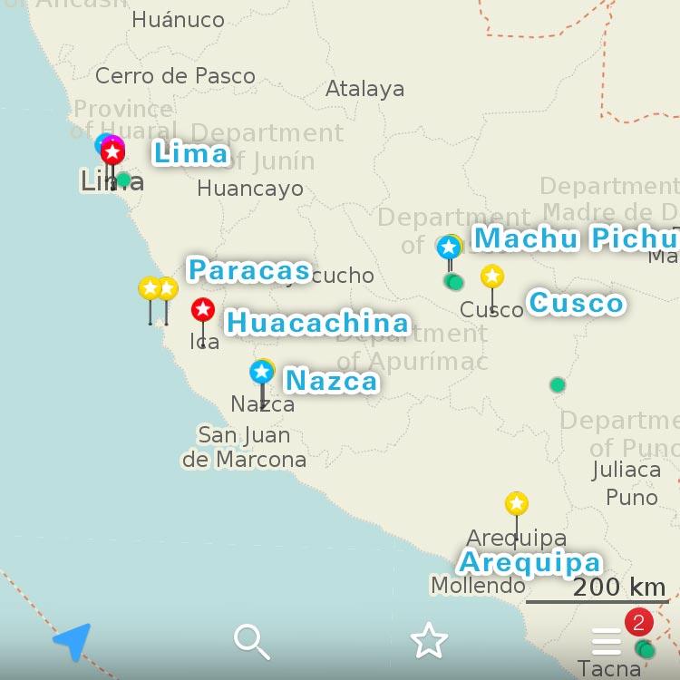 ペルーの主要観光スポット