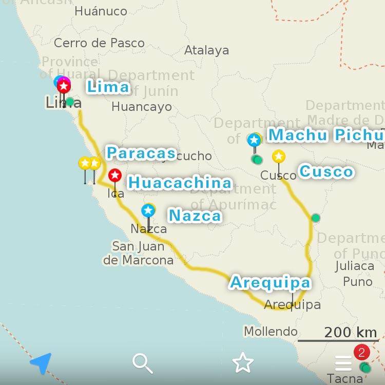 ペルーの地図と足取り