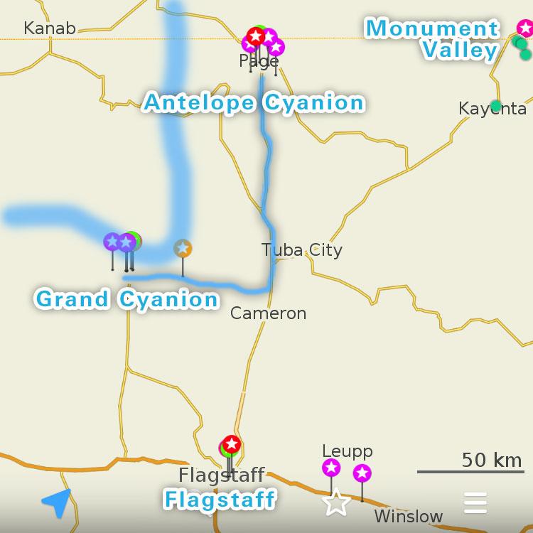 グランドキャニオン周辺の地図。