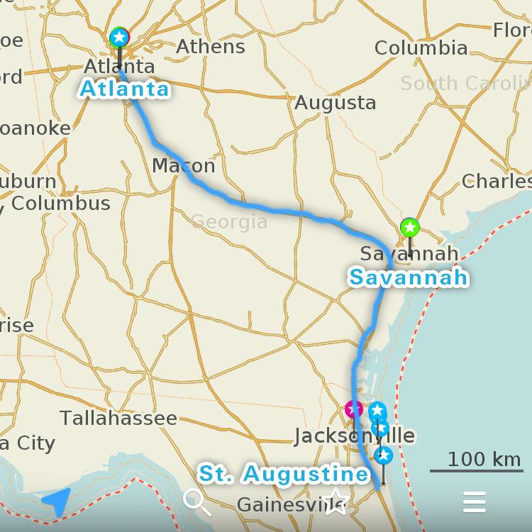 セント・アガスティン、サバンナ、アトランタの地図。