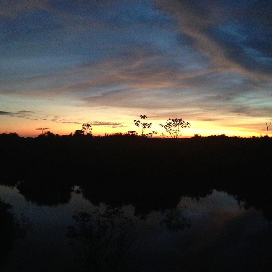 アマゾンの宿から眺める夕日。