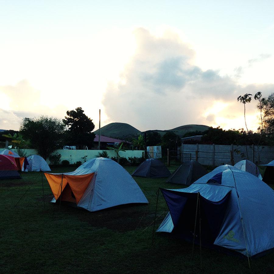 イースター島のキャンプ。