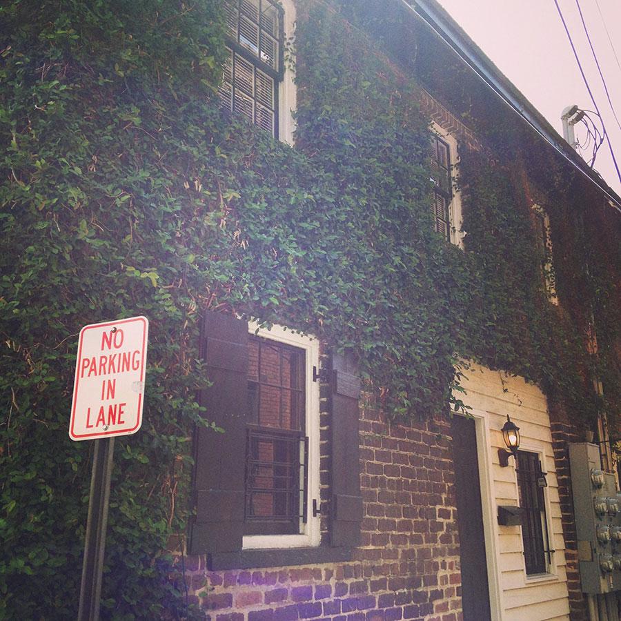植物に覆われた古い煉瓦造りの建物。
