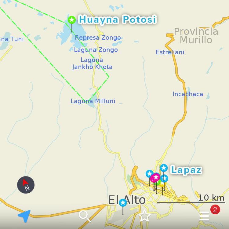 ラパスからワイナポトシまでの地図