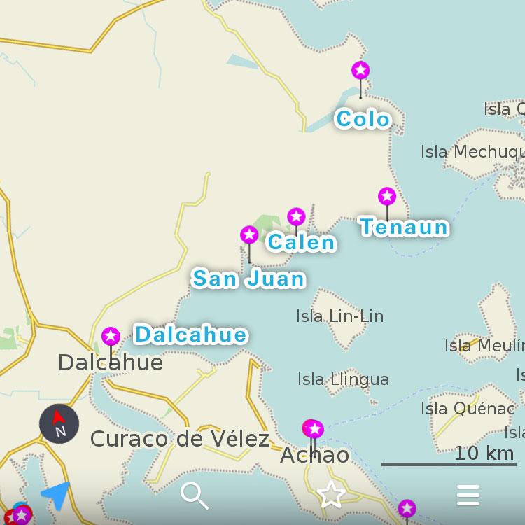 チロエ島北部の教会群。
