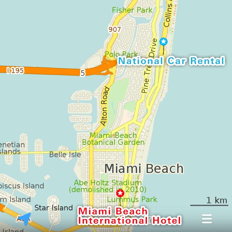 マイアミビーチの地図