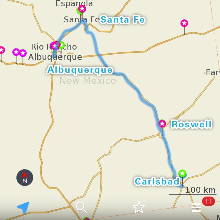 サンタフェ周辺の地図